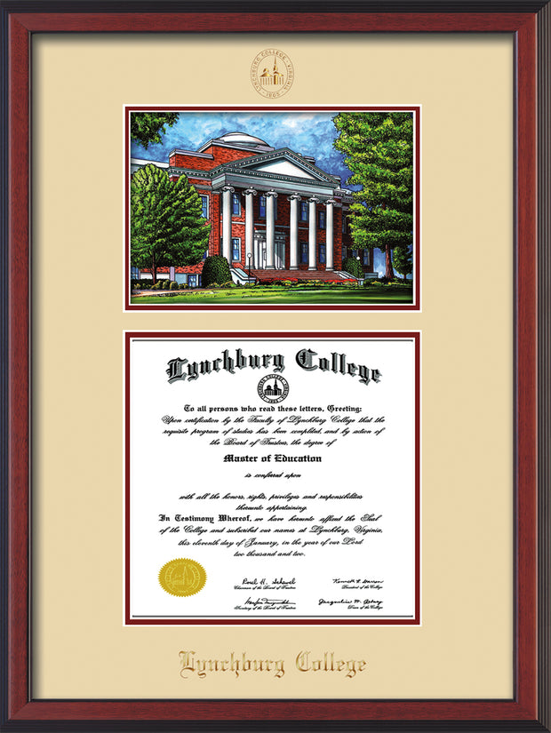 Image of Lynchburg College Diploma Frame - Cherry Reverse - w/Embossed LC Seal & Name - w/Campus Watercolor - Cream on Crimson mat