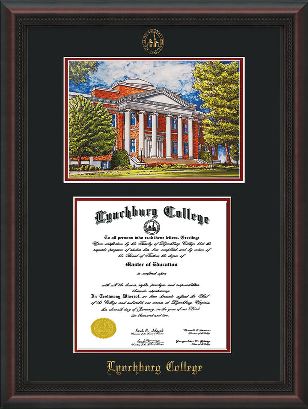 Image of Lynchburg College Diploma Frame - Mahogany Braid - w/Embossed LC Seal & Name - w/Campus Watercolor - Black on Crimson mat