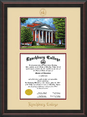 Image of Lynchburg College Diploma Frame - Mahogany Braid - w/Embossed LC Seal & Name - w/Campus Watercolor - Cream on Crimson mat