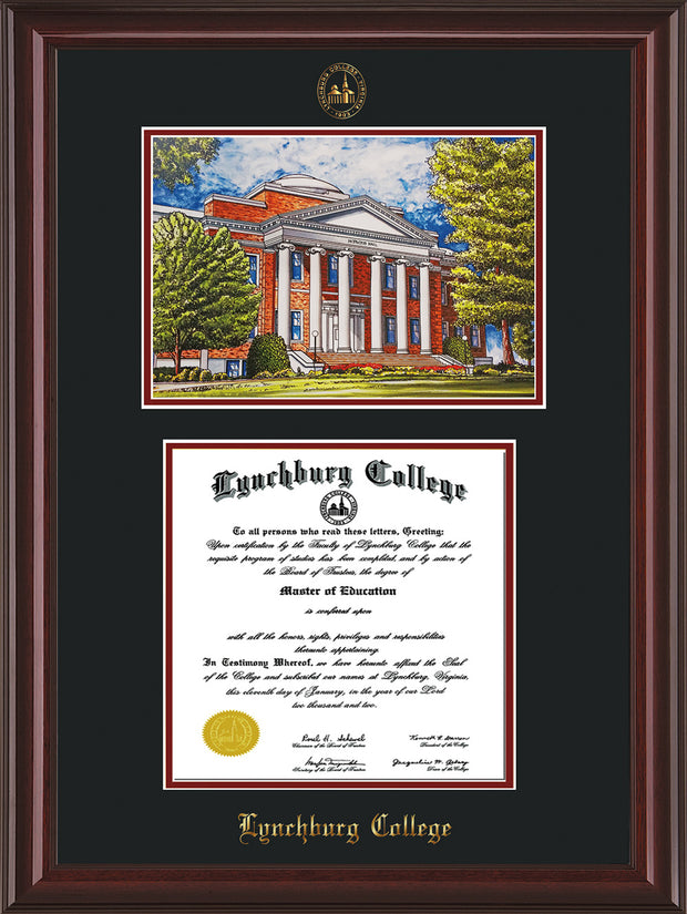 Image of Lynchburg College Diploma Frame - Mahogany Lacquer - w/Embossed LC Seal & Name - w/Campus Watercolor - Black on Crimson mat