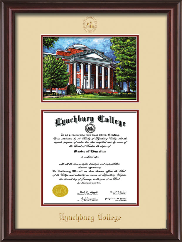 Image of Lynchburg College Diploma Frame - Mahogany Lacquer - w/Embossed LC Seal & Name - w/Campus Watercolor - Cream on Crimson mat