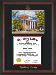 Image of Lynchburg College Diploma Frame - Rosewood - w/Embossed LC Seal & Name - w/Campus Watercolor - Black on Crimson mat