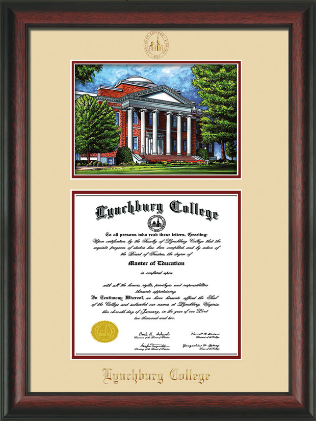 Image of Lynchburg College Diploma Frame - Rosewood - w/Embossed LC Seal & Name - w/Campus Watercolor - Cream on Crimson mat