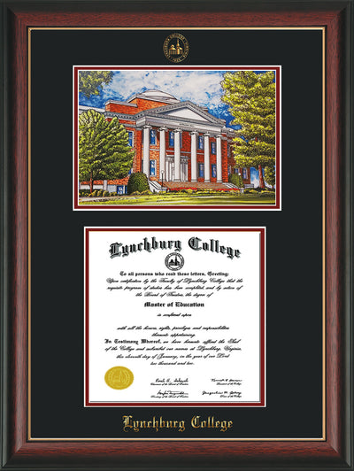 Image of Lynchburg College Diploma Frame - Rosewood w/Gold Lip - w/Embossed LC Seal & Name - w/Campus Watercolor - Black on Crimson mat