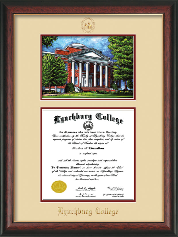Image of Lynchburg College Diploma Frame - Rosewood w/Gold Lip - w/Embossed LC Seal & Name - w/Campus Watercolor - Cream on Crimson mat