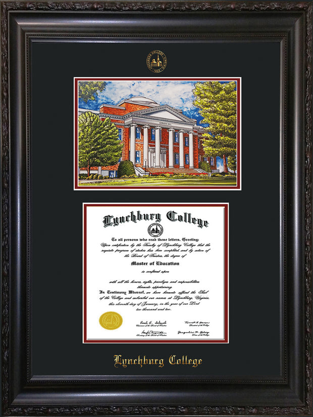 Image of Lynchburg College Diploma Frame - Vintage Black Scoop - w/Embossed LC Seal & Name - w/Campus Watercolor - Black on Crimson mat