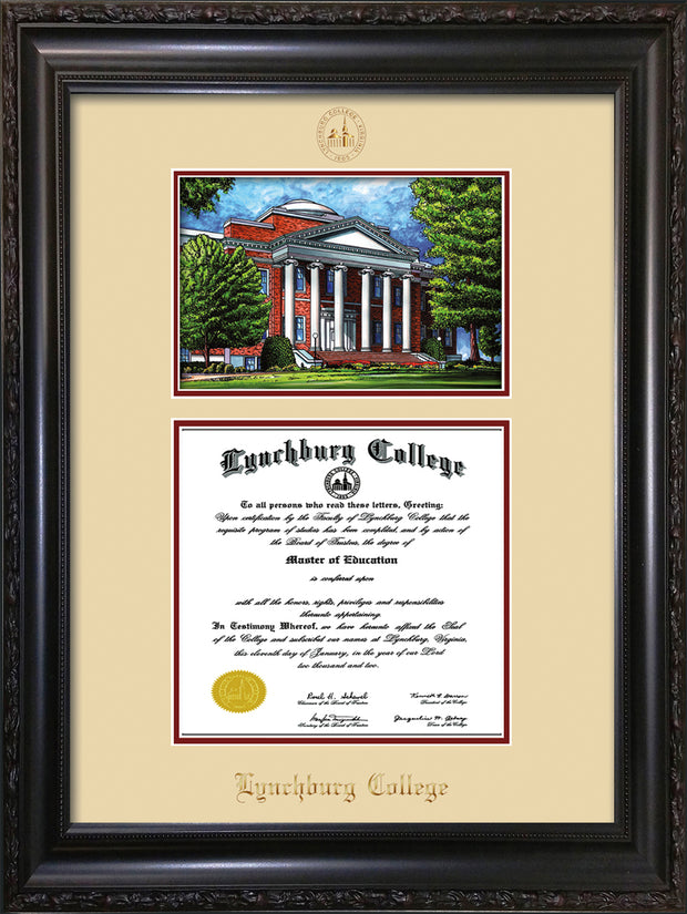 Image of Lynchburg College Diploma Frame - Vintage Black Scoop - w/Embossed LC Seal & Name - w/Campus Watercolor - Cream on Crimson mat