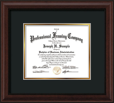 Custom Mahogany Bead Art and Document Frame with Black on Gold Mat