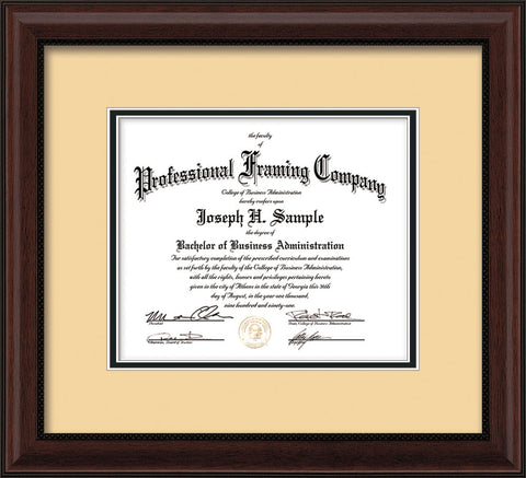 Horizontal image of the Custom Mahogany Bead Art and Document Frame with Cream on Black Mat