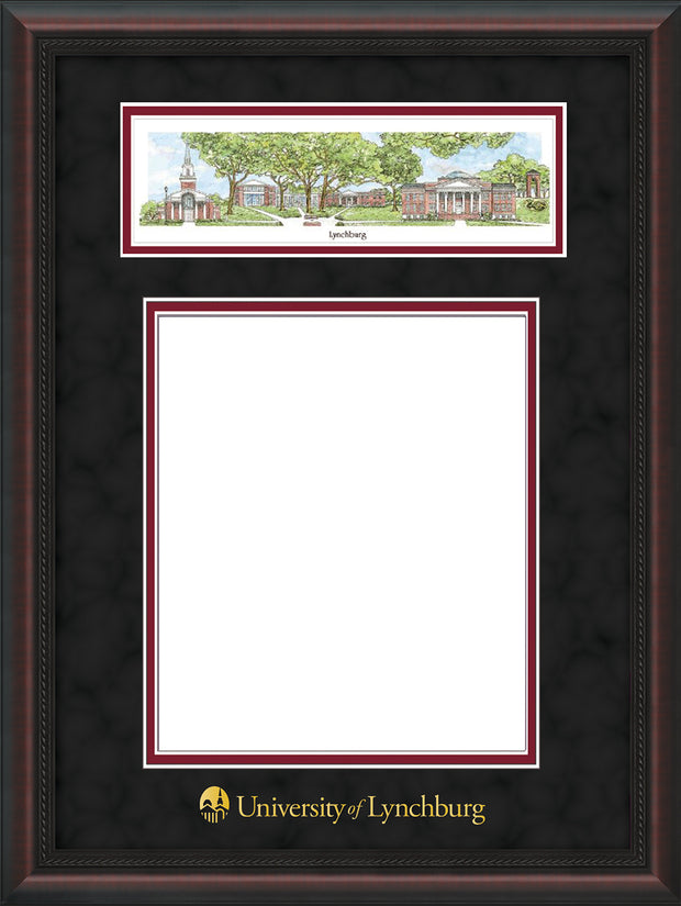 Image of University of Lynchburg Diploma Frame - Mahogany Braid - w/Embossed School Name Only - Campus Collage - Black Suede on Crimson mat
