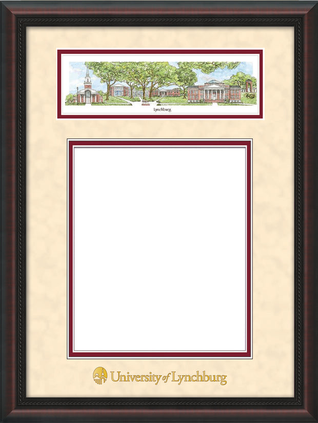 Image of University of Lynchburg Diploma Frame - Mahogany Braid - w/Embossed School Name Only - Campus Collage - Cream Suede on Crimson mat