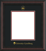 Image of University of Lynchburg Diploma Frame - Mahogany Braid - w/Embossed UL Seal & Name - Black on Crimson mat