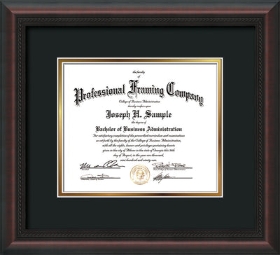 Horizontal view of the Custom Mahognay Braid Art and Document Frame with Black on Gold Mat