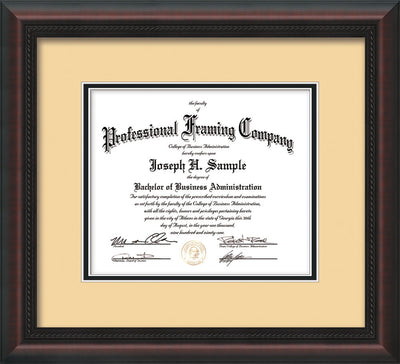 Horizontal view of the Custom Mahognay Braid Art and Document Frame with Cream on Black Mat