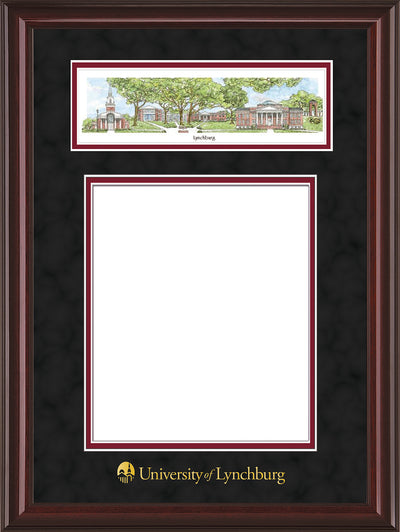 Image of University of Lynchburg Diploma Frame - Mahogany Lacquer - w/Embossed School Name Only - Campus Collage - Black Suede on Crimson mat
