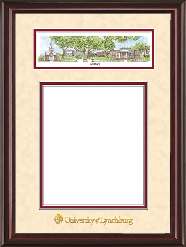 Image of University of Lynchburg Diploma Frame - Mahogany Lacquer - w/Embossed School Name Only - Campus Collage - Cream Suede on Crimson mat