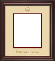 Image of University of Lynchburg Diploma Frame - Mahogany Lacquer - w/Embossed UL Seal & Name - Cream on Crimson mat
