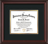 Horizontal view of the Custom Mahogany Lacquer Document and Art Frame with Black on Gold Mat