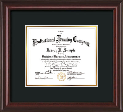 Horizontal view of the Custom Mahogany Lacquer Art and Document Frame with Black on Gold Mat