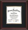 Vertical view of the Custom Mahogany Lacquer Document and Art Frame with Black on Gold Mat