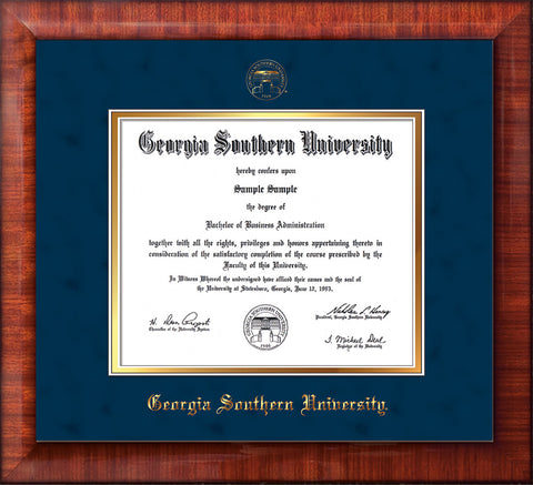 Image of Georgia Southern University Diploma Frame - Mezzo Gloss - w/Embossed Seal & Name - Navy Suede on Gold mat