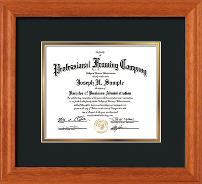 Horizontal view of the Oak Art and Document Frame with Black on Gold Mat