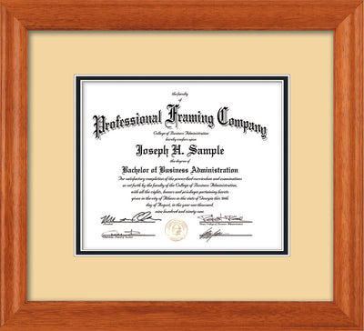 Horizontal image of Custom Oak Art and Document Frame with Cream on Black Mat