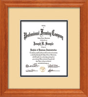 Vertical image of the Custom Oak Art and Document Frame with Cream on Black Mat