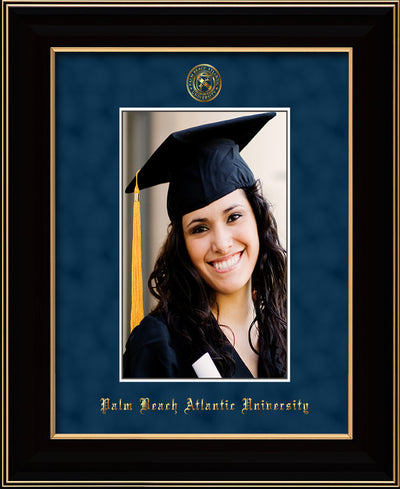 Image of Palm Beach Atlantic University 5 x 7 Photo Frame - Black Lacquer - w/Official Embossing of PBA Seal & Name - Single Navy Suede mat