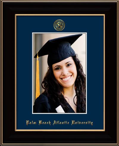 Image of Palm Beach Atlantic University 5 x 7 Photo Frame - Black Lacquer - w/Official Embossing of PBA Seal & Name - Single Navy mat