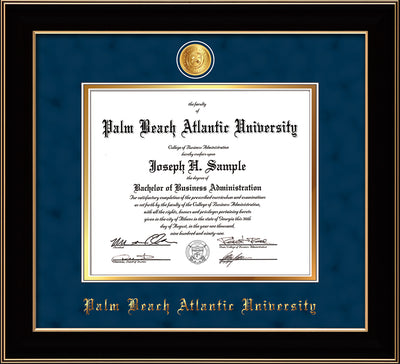 Image of Palm Beach Atlantic University Diploma Frame - Black Lacquer - w/24k Gold-Plated Medallion PBA Name Embossing - Navy Suede on Gold mats