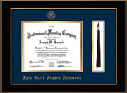 Image of Palm Beach Atlantic University Diploma Frame - Black Lacquer - w/Embossed Seal & Name - Tassel Holder - Navy on Gold mats