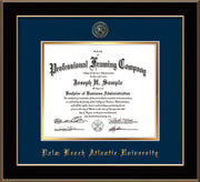 Image of Palm Beach Atlantic University Diploma Frame - Black Lacquer - w/Embossed Seal & Name - Navy on Gold mats