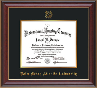 Image of Palm Beach Atlantic University Diploma Frame - Black Lacquer - w/Embossed Seal & Name - Black on Gold mats