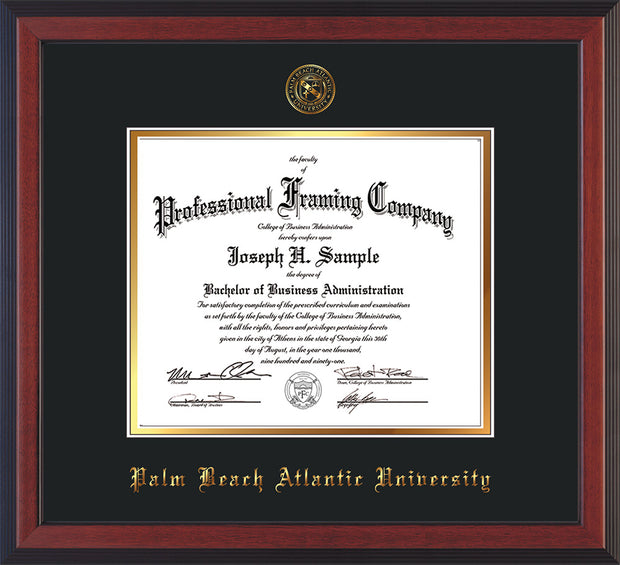 Image of Palm Beach Atlantic University Diploma Frame - Cherry Reverse - w/Embossed Seal & Name - Black on Gold mats
