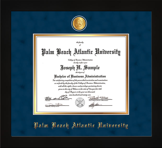 Image of Palm Beach Atlantic University Diploma Frame - Flat Matte Black - w/24k Gold-Plated Medallion PBA Name Embossing - Navy Suede on Gold mats