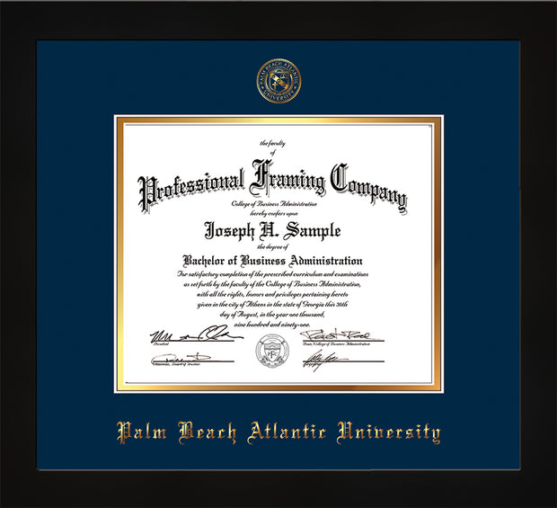 Image of Palm Beach Atlantic University Diploma Frame - Flat Matte Black - w/Embossed Seal & Name - Navy on Gold mats