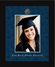 Image of Palm Beach Atlantic University 5 x 7 Photo Frame - Flat Matte Black - w/Official Embossing of PBA Seal & Name - Single Navy Suede mat