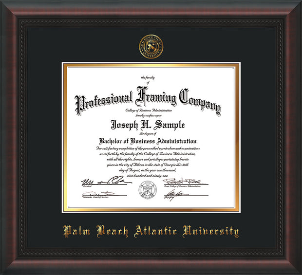 Image of Palm Beach Atlantic University Diploma Frame - Mahogany Braid - w/Embossed Seal & Name - Black on Gold mats