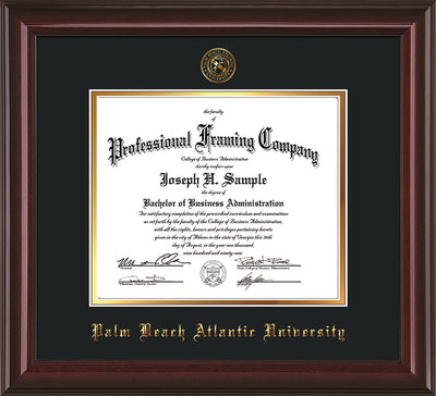 Image of Palm Beach Atlantic University Diploma Frame - Mahogany Lacquer - w/Embossed Seal & Name - Black on Gold mats