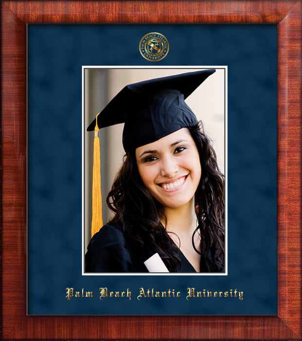 Image of Palm Beach Atlantic University 5 x 7 Photo Frame - Mezzo Gloss - w/Official Embossing of PBA Seal & Name - Single Navy Suede mat