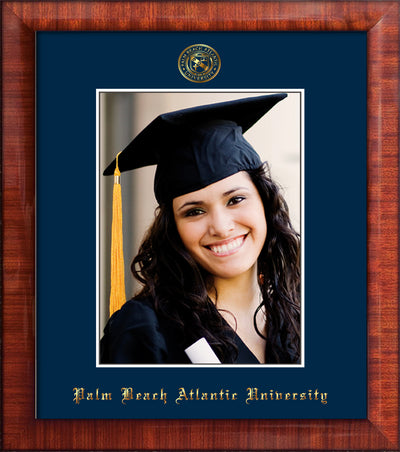 Image of Palm Beach Atlantic University 5 x 7 Photo Frame - Mezzo Gloss - w/Official Embossing of PBA Seal & Name - Single Navy mat