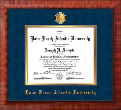 Image of Palm Beach Atlantic University Diploma Frame - Mezzo Gloss - w/24k Gold-Plated Medallion PBA Name Embossing - Navy Suede on Gold mats