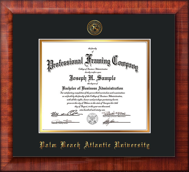 Image of Palm Beach Atlantic University Diploma Frame - Mezzo Gloss - w/Embossed Seal & Name - Black on Gold mats