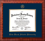 Image of Palm Beach Atlantic University Diploma Frame - Mezzo Gloss - w/Embossed Seal & Name - Navy on Gold mats
