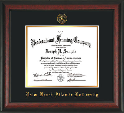 Image of Palm Beach Atlantic University Diploma Frame - Rosewood - w/Embossed Seal & Name - Black on Gold mats