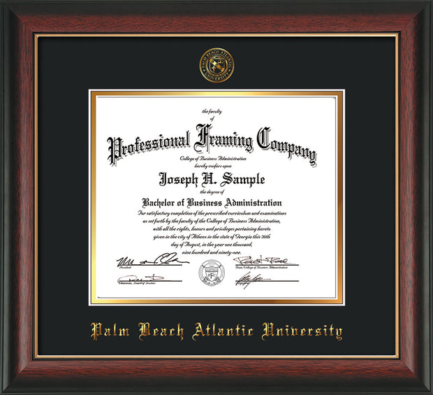 Image of Palm Beach Atlantic University Diploma Frame - Rosewood w/Gold Lip - w/Embossed Seal & Name - Black on Gold mats