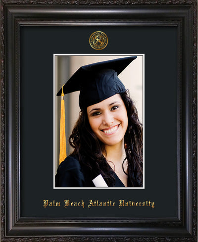 Image of Palm Beach Atlantic University 5 x 7 Photo Frame - Vintage Black Scoop - w/Official Embossing of PBA Seal & Name - Single Black mat