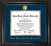 Image of Palm Beach Atlantic University Diploma Frame - Vintage Black Scoop - w/24k Gold-Plated Medallion PBA Name Embossing - Navy Suede on Gold mats