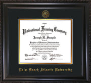 Image of Palm Beach Atlantic University Diploma Frame - Vintage Black Scoop - w/Embossed Seal & Name - Black on Gold mats
